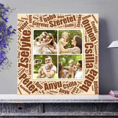 Egyedi - Fénykép kollázs vászonkép 2x2 szöveggel (2cm-es vakráma kerettel)