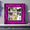 Egyedi - Fénykép kollázs vászonkép 3x3 szöveggel (2cm-es vakráma kerettel)