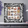 Egyedi - Fénykép kollázs vászonkép 4x4 szöveggel (2cm-es vakráma kerettel)