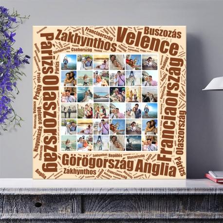 Egyedi - Fénykép kollázs vászonkép 6x6 szöveggel (2cm-es vakráma kerettel)