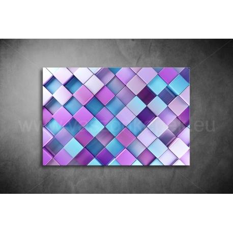 Lila-Kék Kockák Vászonkép 011