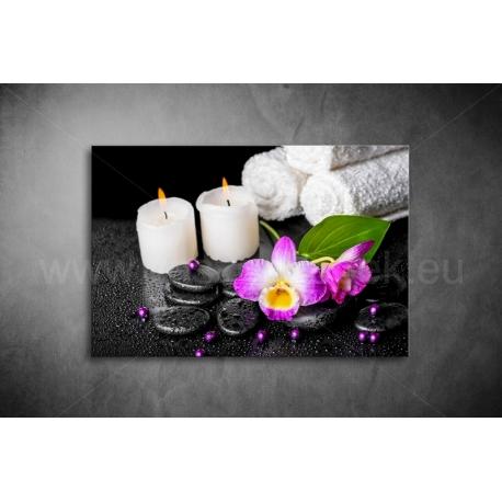 Gyertyák, Orchidea Vászonkép 048