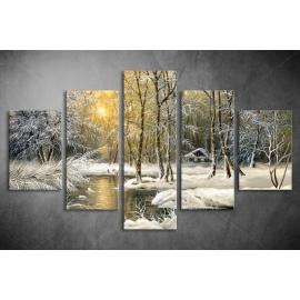 Többrészes Téli erdő vászonkép 010 - (választható formák)