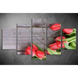 Többrészes Piros Tulipánok vászonkép 017 - (választható formák)