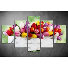 Többrészes Tulipános vászonkép 018 - (választható formák)