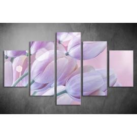 Többrészes Lila Tulipánok vászonkép 020 - (választható formák)