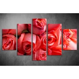 Többrészes Piros Rózsák vászonkép 021 - (választható formák)