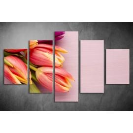 Többrészes Tulipános vászonkép 027 - (választható formák)