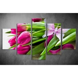 Többrészes Tulipános vászonkép 045 - (választható formák)