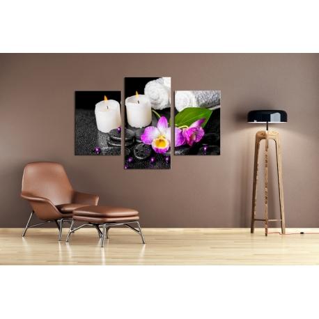Többrészes Gyertyák, Orchidea vászonkép 048 - (választható formák)