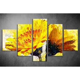 Többrészes Sárga Virág vászonkép 027 - (választható formák)