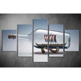Többrészes Hajó a Palackban vászonkép 074 - (választható formák)