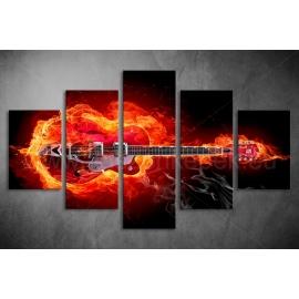 Többrészes Tüzes Gitár vászonkép 079 - (választható formák)