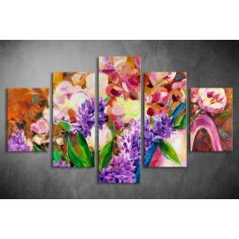 Többrészes Virágok vászonkép 025 - (választható formák)