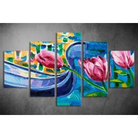 Többrészes Tulipánok vászonkép 033 - (választható formák)