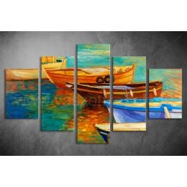 Többrészes Csónakok vászonkép 036 - (választható formák)
