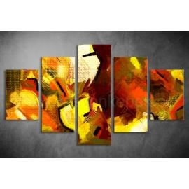 Többrészes Piros-Sárga vászonkép 052 - (választható formák)