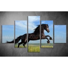 Többrészes Fekete Ló vászonkép 003 - (választható formák)