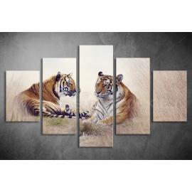 Többrészes Tigrisek vászonkép 034 - (választható formák)