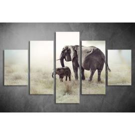 Többrészes Elefántok vászonkép 040 - (választható formák)