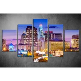 Többrészes Városi fények vászonkép 004 - (választható formák)