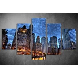 Többrészes Városkép, Toronyházak vászonkép 028 - (választható formák)