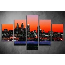 Többrészes New York Naplementében vászonkép 064 - (választható formák)