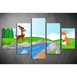 Többrészes Erdei Állatok vászonkép 003 - (választható formák)
