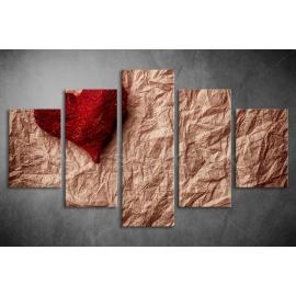 Többrészes Piros Szív vászonkép 002 - (választható formák)