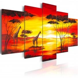 Kép Zsiráfok a háttérben a naplemente