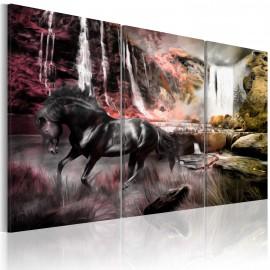 Kép Black horse by a waterfall