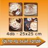 """Vászonkép - """"Quattro"""" - 4db-os - 25x25cm"""